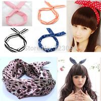 12 types Cute Beautiful Lovely Dot Rabbit Bunny Ear Women Metal Headband Hair Head Band Bow Accessories Free Shipping JE041