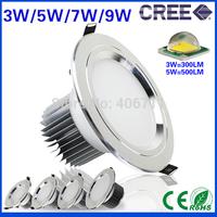 4pcs/lot 3 5 7 9W led downlight Anti-fog 85-265V Silver shell led lamps down light Cool Warm White high power spot led led bulb