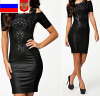 RUSSIA WAREHOUSE S M L XL XXL Plus Size 2014 New Women Leather Black Bodycon Bandage Dress Summer Embroidery Casual Dress 9039