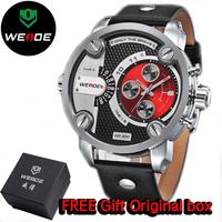 WEIDE Men Sports Watches Military Quartz Luxury Fashion Brand Leather Strap Watch Waterproofed Oversize Wristwatch