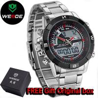 2014 Original WEIDEI Watches Men LED Luminous Analog Digital Dual Time Display Date Week Alarm 3ATM Stainless Steel Wristwatch