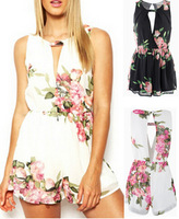 2015 New Arrival White Bodysuit Sexy Backless Jumpuit Summer Rompers Women Floral Playsuit Sleevelss One Piece Female Overalls