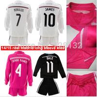 2015 Real Madrid Home/away/3RD Dragon Kids long sleeve Soccer Jersey set Cristiano Ronaldo James Rodriguez RAMOS Bale Youth