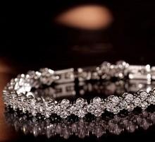 2014 Hot Sell Top Quality AAA Zirconia Diamond Roman Chain Bracelet Bangle For Women Crystal Platinum