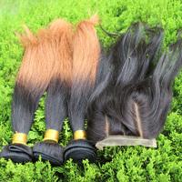 Closure With Bundles Ombre Hair Extensions 4Pcs Lot Brazilian Virgin Hair Silk Straight 1Pcs 3Part Closure With 3Pcs Bundles 5A