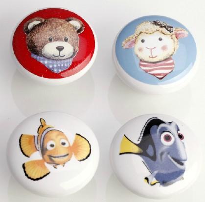 38mm kids knobs ceramic shoe cabinet drawer baby room furniture knos pulls bear sheep cartoon porcelain home decoration handles(China (Mainland))