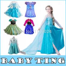 Hot Frozen Dress Elsa & Anna For Girl Princess Cosplay Dresses Cartoon Red Cape Brand Girls Children Clothes Kids Drop Shipping(China (Mainland))