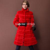2014 Autumn Winter Ladies' Genuine Natural Rex Rabbit Fur Trench Coat Women Fur Overcoat Outerwear VK1414