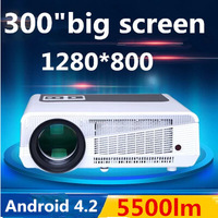 Free shipping Android 4.2 4500Lumens 1080P Full HD  LED 3D Video Projector 220W lamp Wifi Multimedia TV Home cinema TV Projector