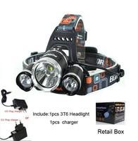 5000LM JR-3000 3X CREE XML T6 LED Headlamp Headlight for bicycle bike light outdoor Lighting+EU/US /AU /UK plug charger