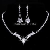 2014 Fashion Bridesmaid Bridal Wedding Jewelry Sets Rhinestone Crystal Jewelry Set Choker Necklace Earrings Free Shipping