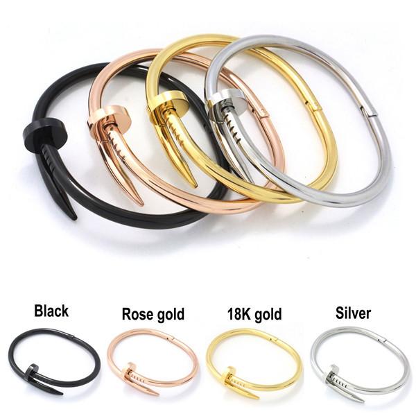 18k Gold Plate Jewelry Titanium Stainless Steel Luxury Brand Stylish Screws Nail Bangle Women Man Bangle Bracelet Bijoux B01(China (Mainland))