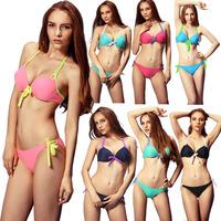 New 2014 Brand Womens Swimwear Swimsuit Lady Bikinis Padded Cool Set Bathing Suit Halter Top Push up Bikini Set maillot de bain