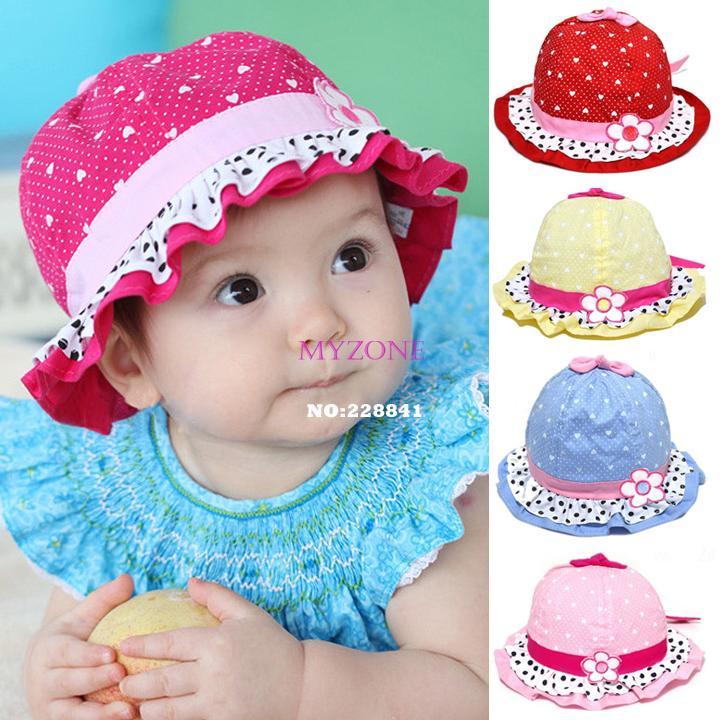 Brand New 2014 Cute Baby Girls Sun Polka Dot hearts Cotton Summer Hat Cap 3-24 Months HOT SALE b7 SV002401(China (Mainland))