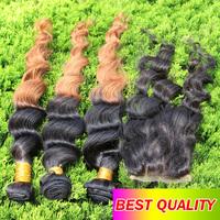 Ombre Brazilian Virgin Hair 4pcs lot loose curl wave 1pcs 3 part Lace closure with 3pcs bundles two tone #1b#/30 color free ship
