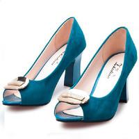 Women Summer Shoes 2014 Brand Designer Shoes For Women Pumps Shoe Pump High Heels Peep Toe Sapato De Noiva Sexy Red Thick Heel