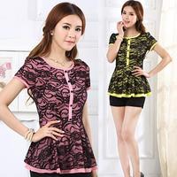 2014 New Fashion Women's Lace Shirt Plus Size Slim Waist Color Block Lace Ruffle Short-Sleeve Shirt Tops