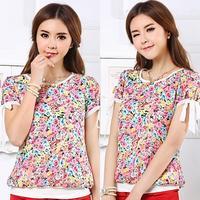 Plus Size Summer 2014 Women Colorful Flowers Printed T-Shirt Bowtie Short-Sleeve Slim Chiffon Shirt Top T-shirt