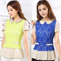 Plus Size Clothing 2014 Summer Slim Peter Pan Collar Lace Colorant Women Chiffon Short-Sleeve T-Shirt Tops