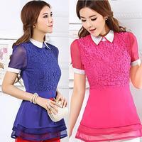 2014 Summer Plus Size Clothing Slim Peter Pan Collar Lace Patchwork Chiffon Short-Sleeve Shirt Blouse Tops