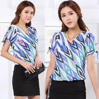 2014 Summer Women's Fashion Print Slim V-Neck Short-Sleeve Bowtie Chiffon Shirt Top Women Blouse