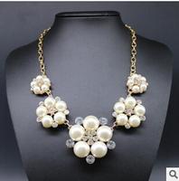 2014 Statement Pearl Necklace Fashion Rhinestones Flower Pendants Choker Necklaces Women Jewerly Wedding Accessories Collar N85