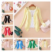 New Fashion Women Cardigan Sweet Lace Crochet hollow Out Knitwear Blouse Long Sleeve Sweater #6044