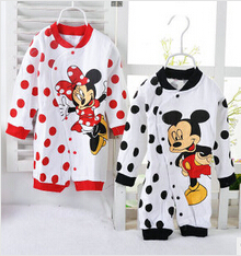 Free shipping 2015 new Baby Rompers Underwear pajamas boys girls One-piece Romper Mickey Minnie newborn jumpsuit(China (Mainland))