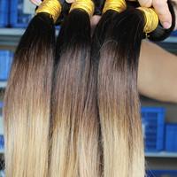 Cara hair products ombre three tone brazilian virgin hair straight 3 bundles lot free shipping 100% human hair #1b/4/27
