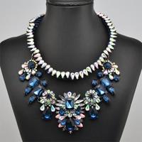 Wholesale 2014 blue Luxury shourouk pendant necklace Choker Crystal bib chunky flower Chain Fashion Necklaces & pendant women
