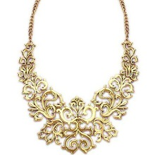 Alloy Vintage Gold Plated Hollow Flower Shorts Ethnic Statement Necklaces & Pendants 2014 Fashion Jewelry For Women Wholesale N2