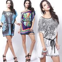 2014 New Indian style Novelty Silk Sophisticated Geometric Folk Hippie Loose Casual Mini Women Dress Batwing sleeve b14 SV000735