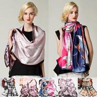 170x52cm Fashion Pure Silk Scarf Women High Quality Silkworm Silk Satin Long Scarves 2015 Spring Brand Design Shawl