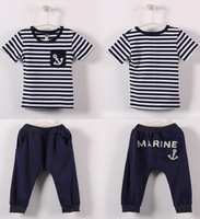 Boys Summer Set of Clothes New 2014 Spring fashion Baby & Kids Marine Striped Casual Boy Clothing Set T shirts+pants suits