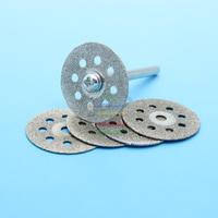 5pcs  22mm Mini  Diamond Sharpen Cutting Abrasive Discs Disks Rotary Tools for Dremel  +1pc Rod