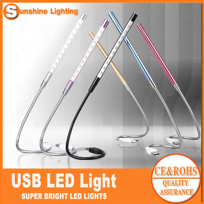 Free shipping Computer USB Gadget USB LED Lamp Light Flexible for notebook/laptop SL-UA200(China (Mainland))