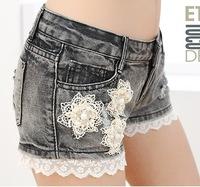 2014 Women's Lace Denim Shorts Cotton Female Loose Jeans Shorts Flower Printed