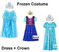 2014 short sleeve frozen dress for 3-10year Girls ELSA dress girl's tutu princess dress with crown free shipping