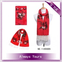 Flower Printed  Wool Shawl With Tassels