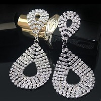 fashion sparkling full rhinestone double drop hollowed crystal drop earrings