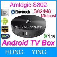 Support xbmc vs Minix Neo X8 Amlogic S802 Quad Core 2G M8 S89 Android TV Box 2G/8G Mali450 GPU 4K*2K Miracast DLNA TV Receiver