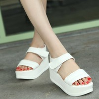 Tide slope with thick crust muffin cool flat shoes, fish head shook with women's Sandals Female shoes lady Footwear girls