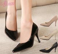 7cm heels nude women pointed toe high heels pumps shoes ladies stilettos thin heels office dress shoes 2015 black pumps women