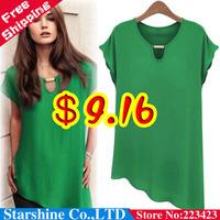 2014 summer plus size clothing fashion short-sleeve chiffon shirt B01