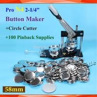 "Free Shipping Pro N4 2-1/4"":58mm Badge Button Maker Machine +Adjustable Circle Cutter+100Sets Metal Pinback Supplies"