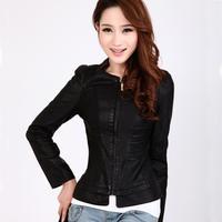 Leather Jacket Women 2014 Elegant Slim Sheep Skin Jackets,Genunine Leather Women Jackets Stand Collar Outerwear Size M-3XL