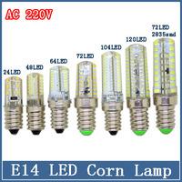 1x E14 Corn Bulbs 3W/7W/9W LED Lamp AC 220V SMD 3014 Silicone Crystal Spotlight Refrigerator Home Lighting Chandelier Tube