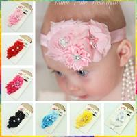Newborn Chiffon pearl fabric flower headband Baby elastic hair bands Girls Kids Headwear Children Accessories #8N0003 10pcs/lot