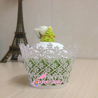 Free Shipping white and Pink flower cupcake wrapper, laser cut cup cake cups wrappers pearl paper wedding party decoration