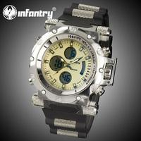 INFANTRY Men's Luminous Digital Analog Wrist Watch Day Date Alarm Black Silicone Stopwatch Watches Alarm Gift Watch Luminous